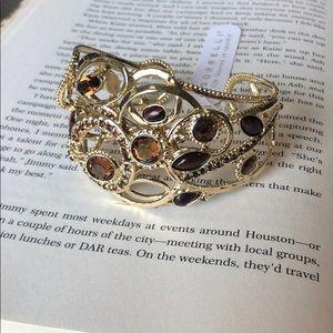 Sorrelli Gold Leaf Statement Cuff Bracelet